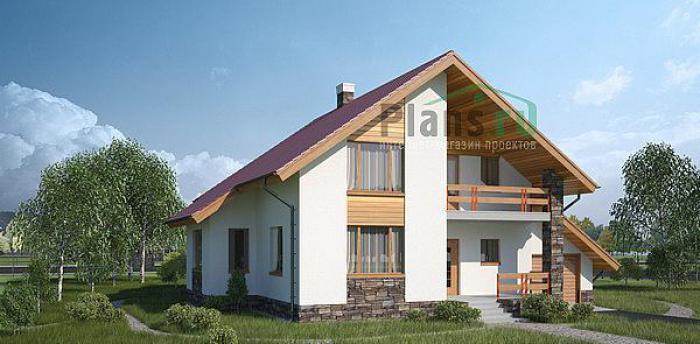 Дачный одноэтажный дом из бруса 6х6 с террасой, проект №8